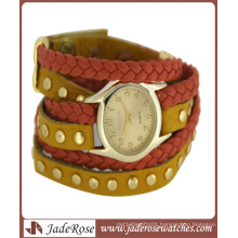 Leather Braded Band Quartz Brand Watch for Ladies