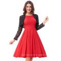 Belle Poque Red Color Pin Up Vestidos Retro Casual Party Robe 50s Vintage Dress Women Summer Dress BP000091-2