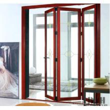 Wooden Color Aluminium Bi Folding Door with Double Glazed