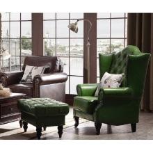 Sala de estar de lazer de estilo Country americano e quarto sofá de couro