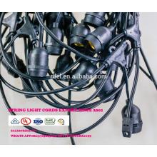 La cadena del patio SLT720 impermeable al aire libre enciende la bombilla S14, negro, 48 '