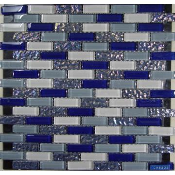 Mode Blue Rectangle Chip kaca mosaik