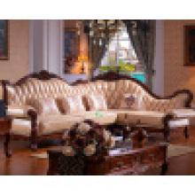 Sofa d'angle / canapé-lit en cuir bois (D802)