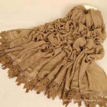 Premium cotton scarf glitter stone maxi dubai fashion shawls women lace hijab