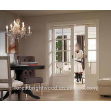 White Painted Recessed Exterior Sliding Glass Interior Double Pocket Doors