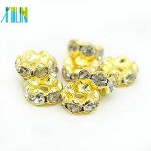 Atacado DIY Banhado A Ouro Lado Ondulado Contas De Metal Rondelle Fazer Jóias Crystal Clear Vidro Spacer Beads IA0202