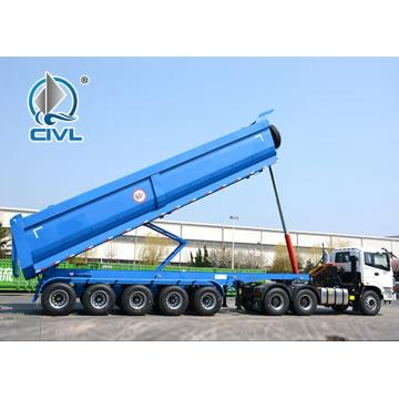 60ton U Shape Tipper Trailer dengan Six Axle