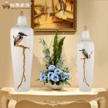 Современный рисунок птица керамический белый цвета ваза с крышкой для домашнего украшения
