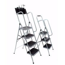 Foldable Non Slip 3 & 4 Step Steel household Ladder tread Stepladder Safety Handrail Rail