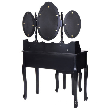 Black Tri Folding Oval Mirror Wood Bathroom Vanity Makeup Table Set with Stool &7 Drawers