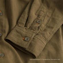 Chemise à capuche en coton à manches longues pour hommes sans repassage