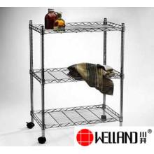 Ajustável de metal cromado de arame de armazenamento de rolamento prateleira tamanhos rack-full disponível