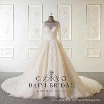 Vente en gros nouvelle arrivée sur mesure à manches longues robes de mariée musulmanes perlées