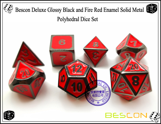 Bescon Deluxe Glossy Black and Fire Red Enamel Solid Metal Polyhedral Role Playing RPG Game Dice Set (7 Die in Pack)-5