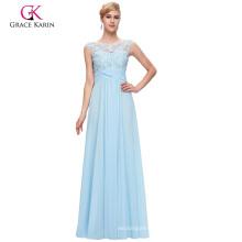 Grace Karin Sleeveless Boat Neck Chiffon Long Sky blue Prom Dress GK000093-1