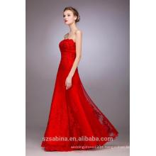 2017 estilo mais quente de vestido de noite vermelho sem mangas para mulheres