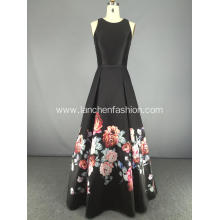 Boat Neck Sleeveless A-line Full Length Dress