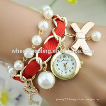 Graceful bright colour fashion pearl strap quartz watch