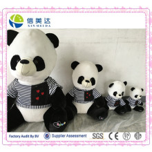 White and Black Plush Stuffed Soft Panda with Dress