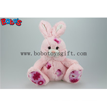 "9.5"" Softest Pink Stuffed Rabbit Plush Toy with Flower Fabric Patch Bos1145"