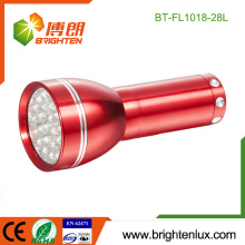 Factory Logo imprimé Red Emergency Handheld 28 conduit Aluminium Petite torche à LED avec batterie 3 * AAA