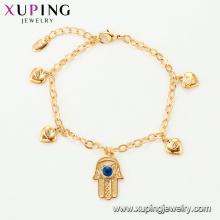 75136 Xuping fancy gold hand chain bracelet design for girls personalized silk thread fake jewwlry