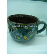 Blue Reactive Glaze Stoneware Soup Mug