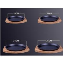 Runder Gusseisen Sizzling Platte / Steak Pan mit Holzfuß