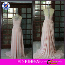 ED Bridal Elegant Chiffon Pink Beaded A-line Halter Long Sleevelss Ela Moda vestidos de baile