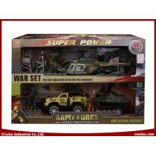 DIY Spielzeug Military Sets mit Plate Trailer, Hubschrauber, Yacht und Friction Car
