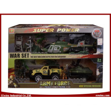 DIY Toys Military Sets with Plate Trailer, Helicopter, Yacht and Friction Car