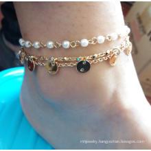 Pearl Anklet with Metal Tassel