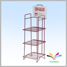 3 tier wrought iron metal wire rack supermarket display shelf for retail storage