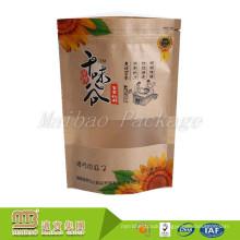 Guangzhou Factory Vivid Printing Standing Kraft Recycled Food Grade Brown Paper Bag with Window