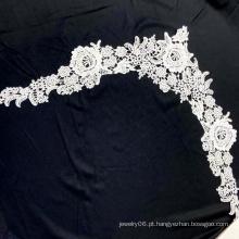 Colar de flor branca de noiva bordado com borda de guipura em tecido de renda para o vestido