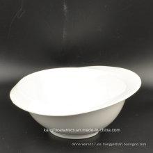 Cuenco de ensalada de cerámica esmaltado color blanco llano europeo