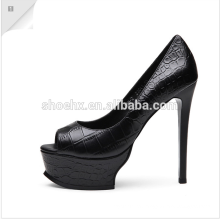 2016 Elegant High Heel Dress Shoes, Fish Head Shoes, black platform High Heels