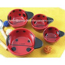 Ladybugs Ceramic Set of 4 Measuring Cups