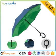Exquisita artesanía Doble capa Manualmente Reverse plegable paraguas
