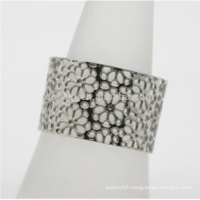 Customized Women Jewelry Hollow Flower Stainless Steel Wide Adjustable Size Open Ring