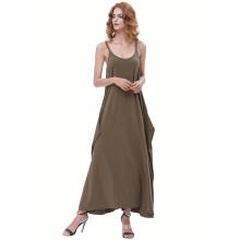 Kate Kasin Womens Casual suelta espaguetis correas verde oliva oscuro Boho Harem vestido KK000712-3