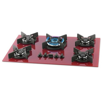 5 Burner Triple Flame Cooker Red Gas Cooktop
