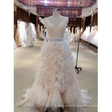V Neck Tiered Bottom Pink Wedding Dress with Belt