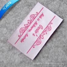 Étiquette tissée avec logo rose personnalisé