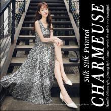 6mm Printed Silk Charmeuse for Silk Dress Fabric