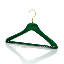 Plastic Jacket Hanger with Green Velvety Coating for Luxury Sports Wear