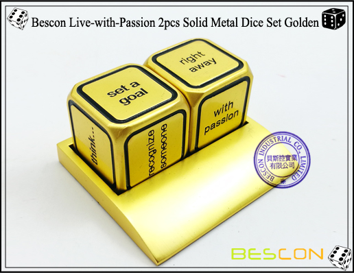 Bescon Live-with-Passion 2pcs Solid Metal Dice Set Golden-1