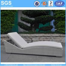 White Rattan Weave Sun Lounger Cadeira de praia