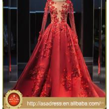 2017 Noble Retro Red Appliques Sexy A Line Bridal Dresses Custom Made Long Sleeve Satin Transparent Tulle Wedding Dress ASA002