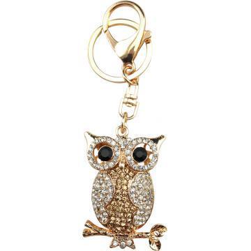 Yeux noirs Owl trousseau avec crystal domestique